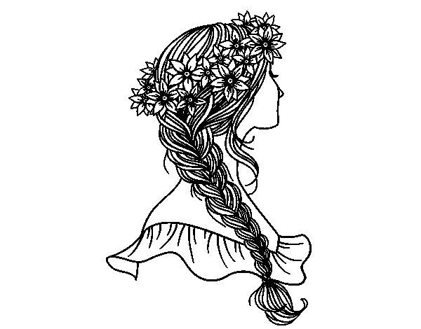 Desenho De Penteado Com Trança Para Colorir
