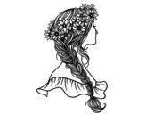 Desenho de Penteado com trança para colorear
