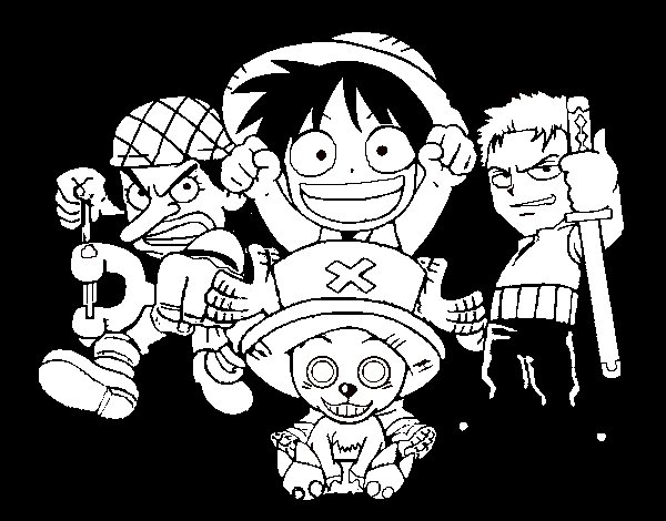Desenho de Personagens One Piece para Colorir