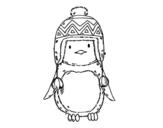 Desenho de Pinguim do bebê com chapéu para colorear