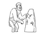 Desenho de Pinturas rupestres homem pré-histórico para colorear