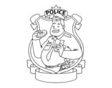 Desenho de Polícia com filhós para colorear