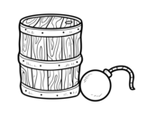 Desenho de Pólvora e bomba pirata para colorear