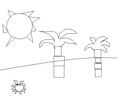 Desenho de Praia para Colorir