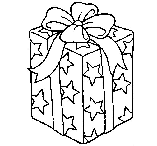 Desenho de presente envolvido em papel de estrelas para - Papel de pintar ...