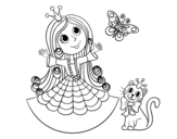 Dibujo de  Princesa com o gato e borboleta