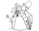 Desenho de Recém-casados príncipes para colorear