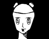 Dibujo de Rosto de menina com tranças