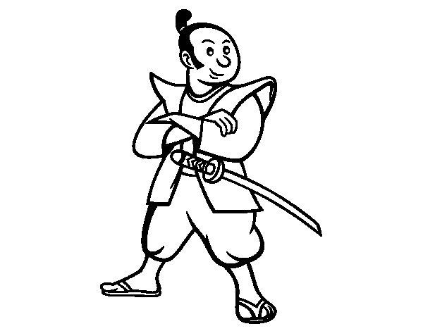 Desenho de Samurai adulto para Colorir