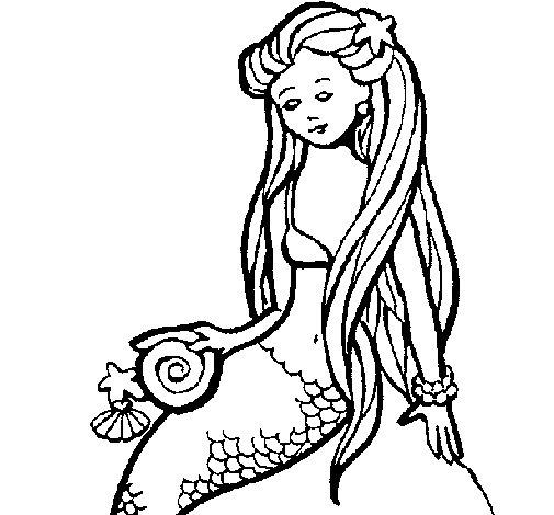 Desenho de Sereia com caramujo para Colorir