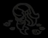 Desenho de Sereia feliz para colorear