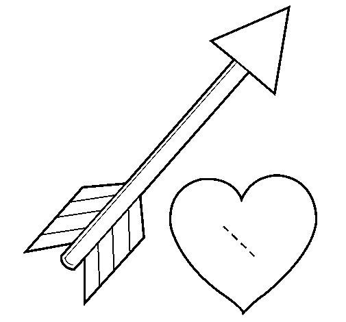 Desenho de Seta e coração para Colorir