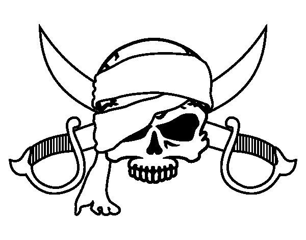 Desenho de Símbolo pirata para Colorir