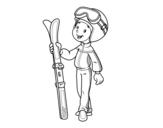 Desenho de Ski para colorear