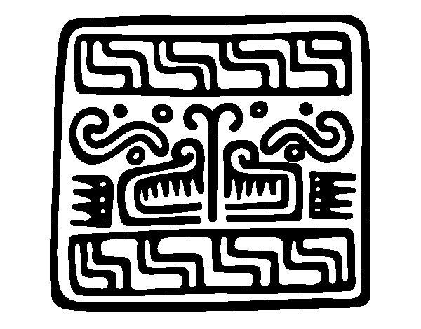 Desenho de Sobrescrito maia para Colorir