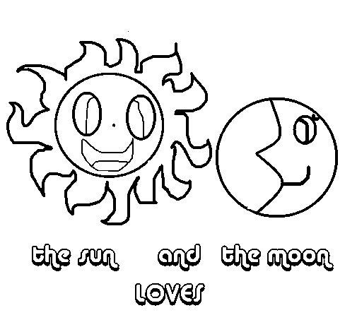 Desenho de Sol e Lua para Colorir