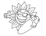 Desenho de Sol Surfer para colorear