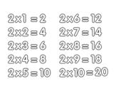 Desenho de Tabuada de Multiplicação do 2 para colorear