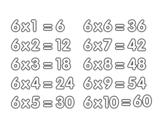 Desenho de Tabuada de Multiplicação do 6 para colorear