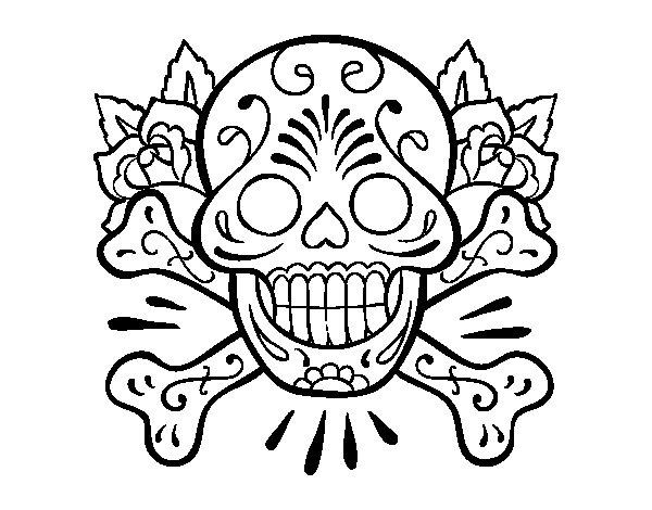Desenho De Tatuagem De Caveira Para Colorir