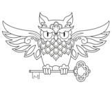 Desenho de Tatuagem de coruja com chave para colorear