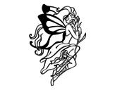 Desenho de Tatuagem de fada para colorear