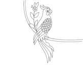 Desenho de Tatuagem de papagaio para colorear