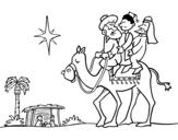 Desenho de Três Reis Magos para colorear