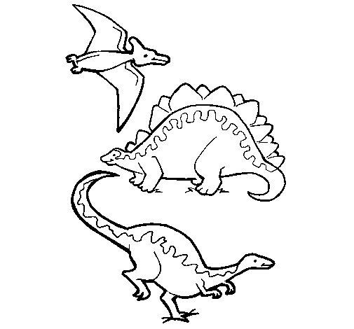 Desenho de Três classes de dinossauros para Colorir ...