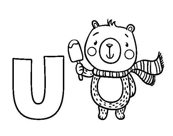 Desenho De U De Urso Para Colorir