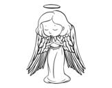 Desenho de Um anjo a orar para colorear