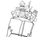 Desenho de Um conto na cidade para colorear