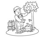 Desenho de Um fazendeiro para colorear