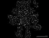 Desenho de Um gato com bolinhas para colorear