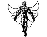 Desenho de Um Super herói a voar para colorear