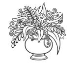 Desenho de Um vaso com flores para colorear
