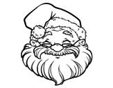 Desenho de Uma face de Papai Noel para colorear