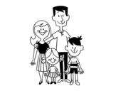 Desenho de Uma família feliz para colorear