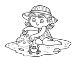 Dibujo de Uma menina que joga na praia