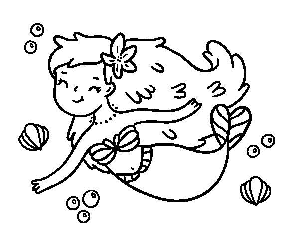Desenho de Uma sereia feliz para Colorir