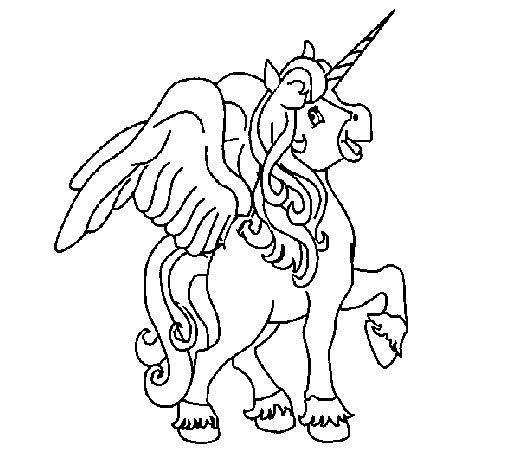 Desenho de Unicórnio com asas para Colorir