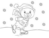 Desenho de Ursito patinação de Natal para colorear