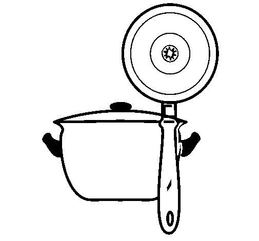 Desenho de Utensílios de cozinha para Colorir