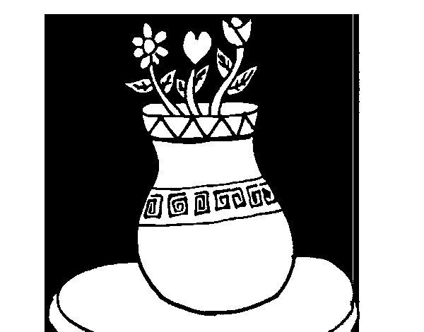 Desenho de Vaso com flores para Colorir