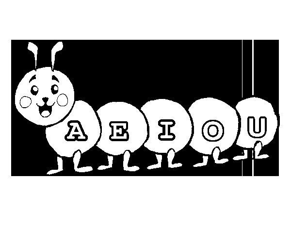 Desenho de Verme com vogais para Colorir