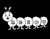 Desenho de Verme com vogais para colorear