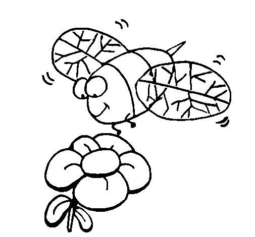 Desenho de Vespa e flor para Colorir