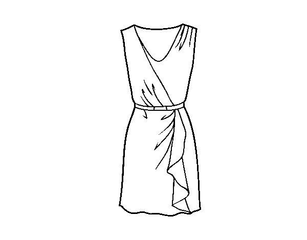 Desenho De Vestido Simples Para Colorir