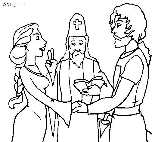 Matrimonio Catolico Para Dibujar : Desenho de votos casamento para colorir
