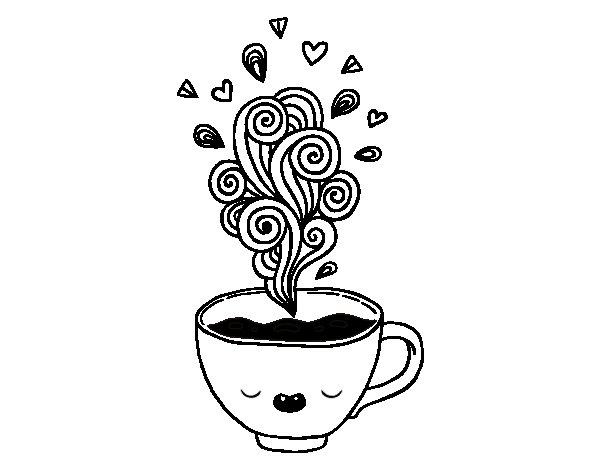 Desenhos Kawaii Para Colorir: Desenho De Xícara De Café Kawaii Para Colorir